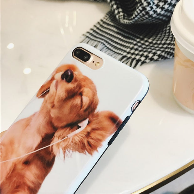 Cute Cartoon Listening To Music Dogs Cool Blu-ray Phone Case For IPhone 6 6S Plus 7 7Plus 8 8Plus Soft IMD Glossy Back Cover