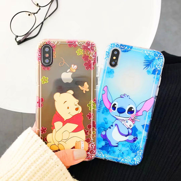 Cute Cartoon Mickey Minnie Pooh Stitch Soft Silicone Transparent Phone Case Coque For IPhone X Xr Xs Max 8 7 6s Plus Back Cover