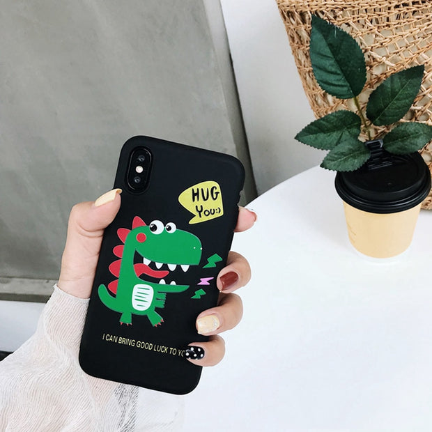 Cute Cartoon Phone Cases For IPhone X Case Freehand Animal Green Dinosaur Soft TPU Couples Back Cover For Iphone 7 6 6S 8 Plus