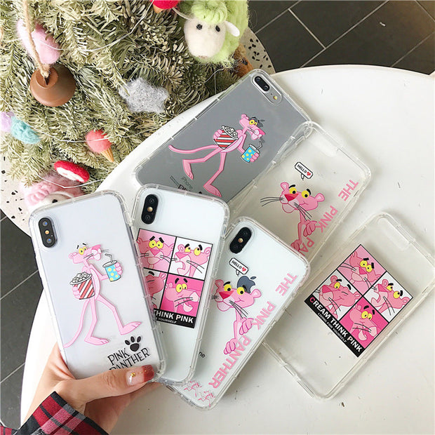 Cute Cartoon Pink Leopard Phone Case For IPhone X XS 6 6s 7 8 8 Plus Air Cushion Shockproof Soft TPU Silicone Cover Funda Coque