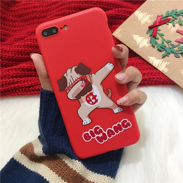 Cute Dog Phone Case For Iphone X Case For Iphone 6 6S 7 8 Plus 5S SE Cover Fashion Funny Cartoon Cases Soft Silicone Matte Capa