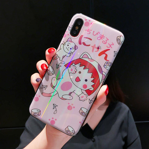 Cute Cartoon Cat Phone Case For IPhone 6 6S 7 8 Plus Funda For Iphone 6 6S 7 8 For IPhone X XR XS MAX Drop-proof Back Covers