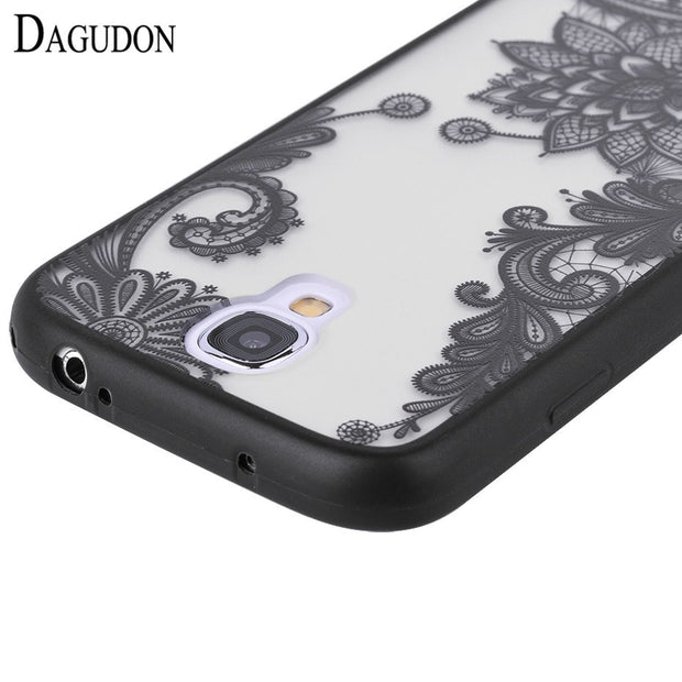 DAGUDON Sexy Lace Phone Case For Samsung Galaxy S4 Floral Paisley Flower Mandala Henna Clear PC Cover For Samsung S4 I9500 Capa