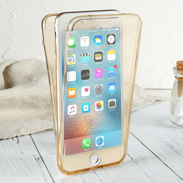 DOES Soft Silicone TPU 360 Degree Full Armor Transparent Case For IPhone 7 7 Plus Cover Case For IPhone 6 6S Plus 5 5S SE Cover