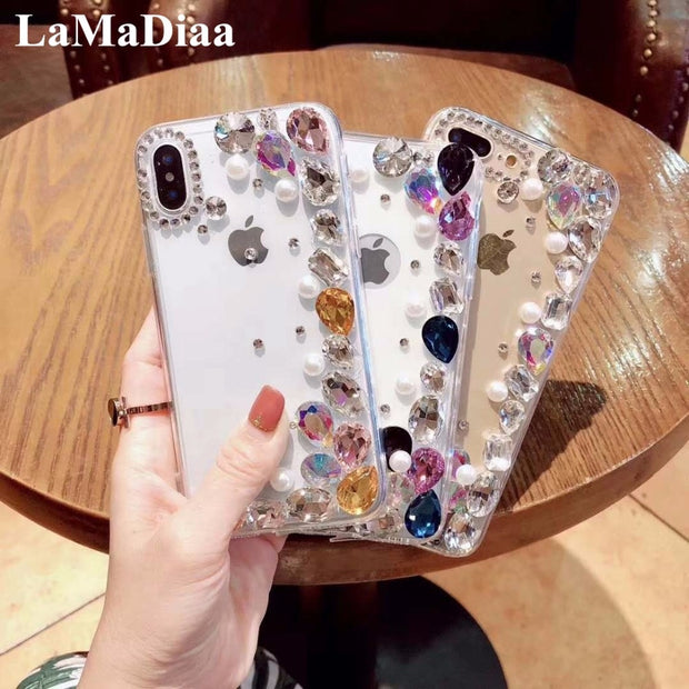 Diamond Phone Cases For Xiaomi 5 5S Plus 5X 6 Max MIX 2 3 For Redmi Note 4 4X 5A Prime Luxury Bling Pearl Shell Soft Cover