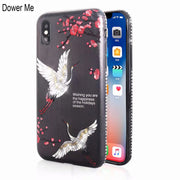 Dower Me Fashion Bling Glitter Japanese Cherry Blossom Crane Rhinestone Diamond Bumper Case Cover For IPhone X 8 7 6 6S Plus