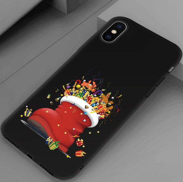 EiiMoo Case For IPhone 7 8 Plus Cover Soft Silicone Cover For IPhone 6 6S XR X XS Max Case Santa Claus For IPhone 8 Plus Case