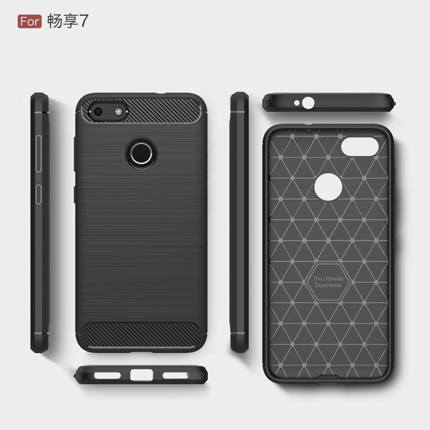 Etui Huawei P9 Lite Mini Case Silicon For Huawei Y6 Pro 2017 Case Cover Enjoy 7 Fundas Soft Carbon Fiber Brushe Coque Aksesuar