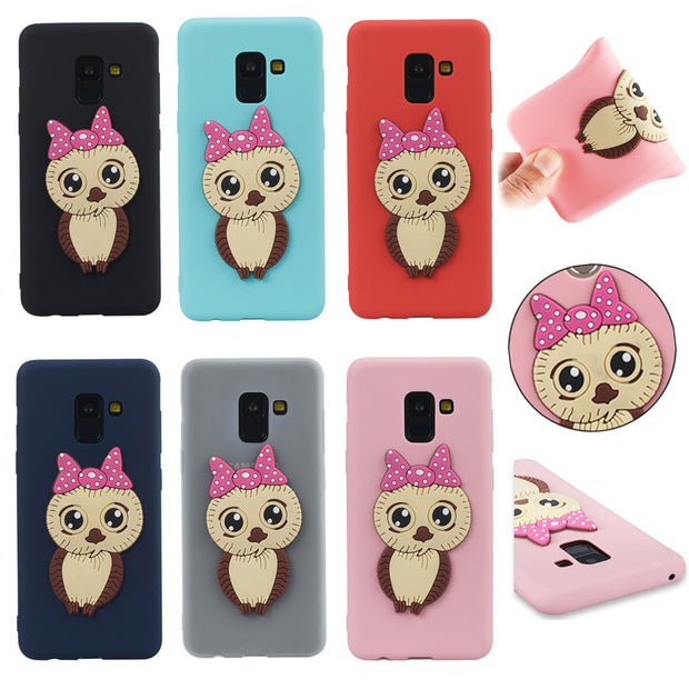 FKISSME 3D Owl Cartoon Case For Samsung Galaxy A8 2018 Case A530 Soft TPU Silicone Cover For Samsung A8 Plus 2018 Phone Cases