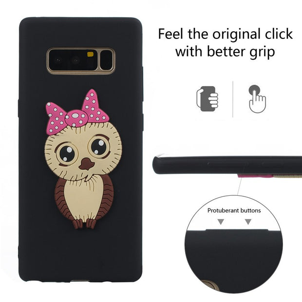 FKISSME 3D Owl Cartoon Case For Samsung Galaxy Note 8 Case Note8 Soft TPU Silicone Cover For Samsung Note 8 Phone Cases Funda