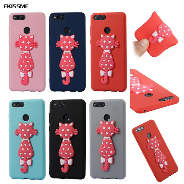 FKISSME Cartoon 3D Moustache Cat TPU Cover For Huawei Honor 7X Case Coque Gel Soft Silicone Case For Huawei Honor 7X Phone Cases