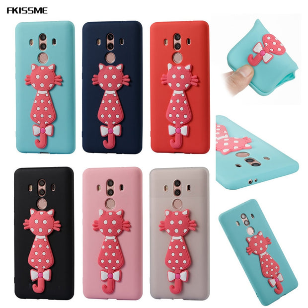 FKISSME Cartoon 3D Moustache Cat TPU Cover For Huawei Mate 10 Pro Case Soft Silicone Case For Huawei Mate 10 Pro Phone Cases Gel