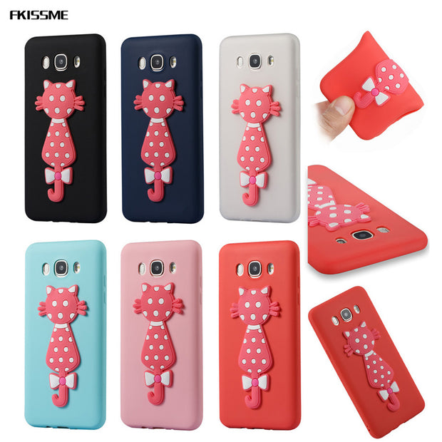 FKISSME Cartoon 3D Moustache Cat TPU Cover For Samsung Galaxy J7 2016 J710 Soft Silicone Case For Samsung J7 2016 Phone Cases