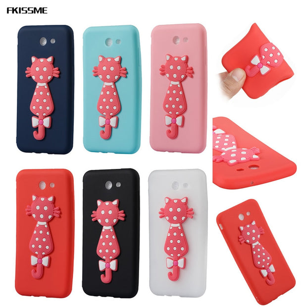 FKISSME Cartoon 3D Moustache Cat TPU Cover For Samsung Galaxy J7 2017 Case J720 Soft Silicone Case For Samsung J7 2017 Cases Bag