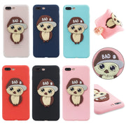 FKISSME Cute 3D Hat Bowknot Owl Cartoon Case For Iphone 7 Plus Cover TPU Soft Silicone Case For Iphone 8 Plus Phone Cases Coque