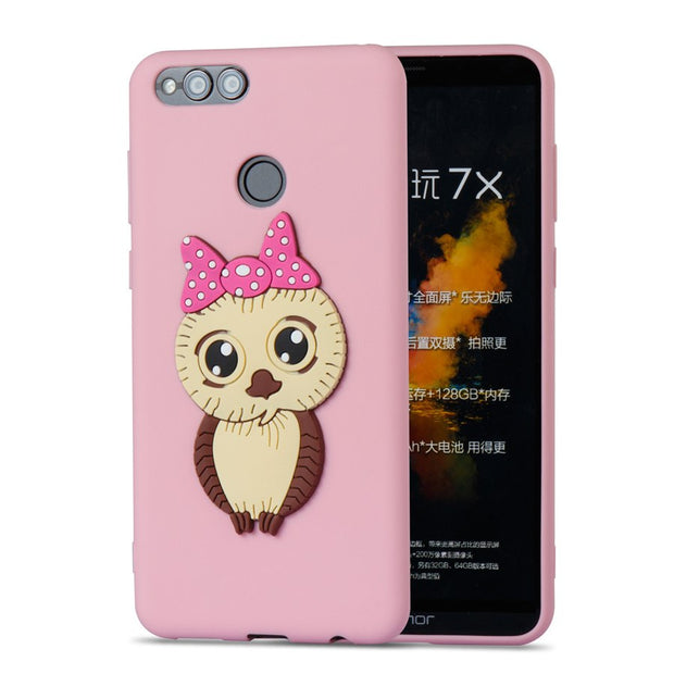 FKISSME Cute Bowknot 3D Owl Cartoon Case For Huawei Honor 7X Soft TPU Silicone Cover For Huawei Honor 7X Case Phone Cases Coque