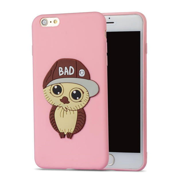 FKISSME Cute Cartoon 3D Hat Bowknot Owl Case For Iphone 6 Plus Cover TPU Soft Silicone Case For Iphone 6S Plus Phone Cases Coque