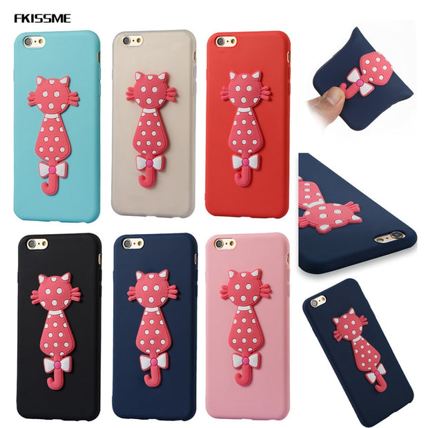 FKISSME Cute Cartoon 3D Moustache Cat Case For Iphone 6 Plus Cover TPU Soft Silicone Case For Iphone 6S Plus Phone Cases Coque