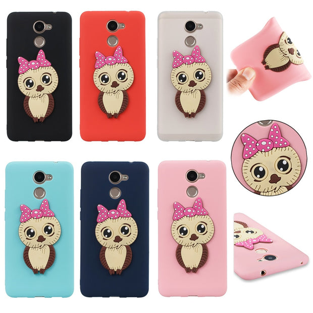 FKISSME Cute Cartoon 3D Owl Case For Huawei Enjoy 7 Plus Soft Silicone Cover For Huawei Y7 Prime Case Girl TPU Phone Cases Coque