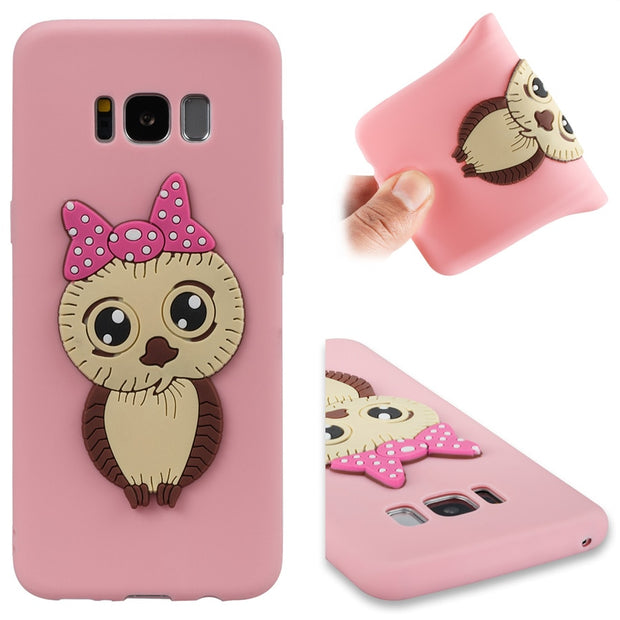FKISSME Cute Cartoon 3D Owl Case For Samsung Galaxy S8 Plus Case Soft TPU Silicone Cover For Samsung S8 Case Phone Cases Coque