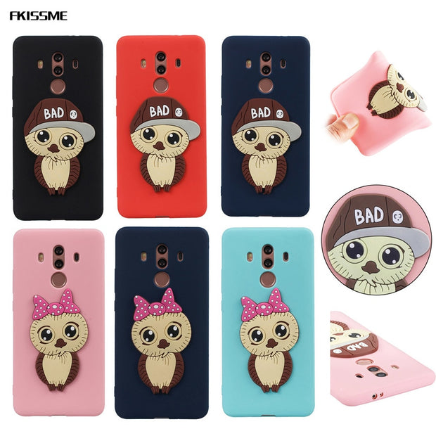 FKISSME Cute Cartoon Girl Bowknot 3D Owl Case For Huawei Mate 10 Pro Soft Silicone Case Cover For Huawei Mate 10 Pro Phone Cases