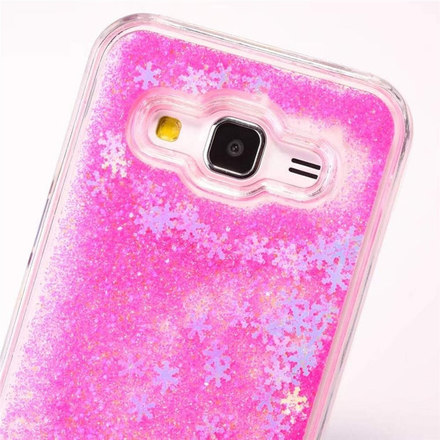 FULAIKATE Glitter Snowflake Quicksand Back Cover For Samsung Core Prime G360 PC Hard Case For G360 Transparent CellPhone Cases