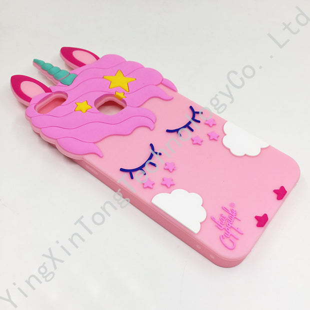 Fashion 3D Cute Unicorn Case For IPhone 5 5S SE 6 6S 7 8 Plus X For Huawei P10 P9 P8 Lite 2017 Cartoon Soft Silicone Phone Cover