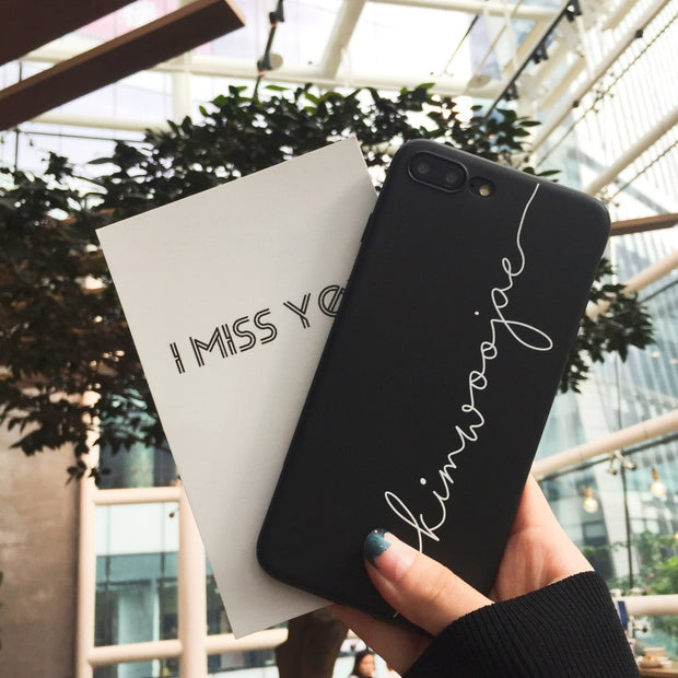 Fashion Cartoon Letter Phone Cases For Iphone 6 6s Plus Case Simple Black Soft Silicone For Iphone 7/8 Plus X Back Cover Shell