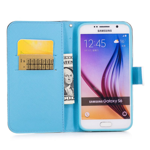 Fashion Colorful Leather Flip Cover For Samsung Galaxy S9 S8 Plus J1 J5 J3 J7 2016 2017 A3 A5 A7 2017 A520F Case Phone Protector