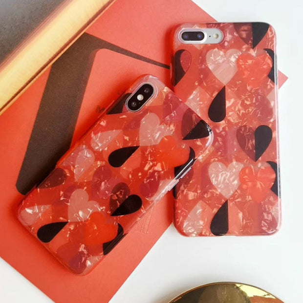 Fashion Conch Shell Heart-shaped Phone Case For IPhone 7 8 Plus Dream Shell Pattern Case For IPhone XR XS Max 6 6S Plus Cover