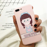 Fashion Cute Girl Case For Iphone X Case For Iphone 6 6S 7 8 Plus Back Cover Lovely Cartoon Pink Soft TPU Phone Cases Capa Funda