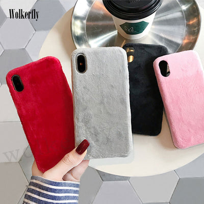 Fashion Fur Furry Warm Plush Soft TPU Case For Huawei P20 Pro P20 Nova 3 Mate 10 Pro Silicon Phone Case On Honor 10 V10 V9 Cover