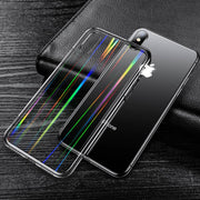 Fashion Laser Rainbow Transparent Tempered Glass Case For IPhone X XS Max XR Hard Cover Hoesjes For IPhone 8 7 6 6S Plus Capa