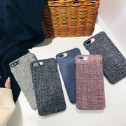 Fashion Linen Cloth Fabric Plush Phone Case For Iphone X 7 8 6 6s Plus Protective Case For Apple Original Case For Iphone 6 6s