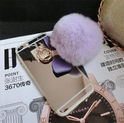Fashion Rabbit Fur Ball Bowknot Mirror Soft TPU Case For IPhone 5 5s 6 6s Plus 7 7 Plus For Samsung S4 S5 S6 Edge S7 Edge