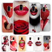 Fashion Red Sexy Lips Phone Case For Samsung Galaxy J2 J3 J4 Plus J5 J6 Plus J7 J8 2018 Soft Silicone Cases Cover