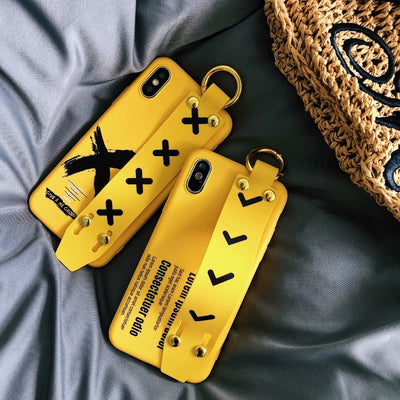 Fashion Simple Yellow Phone Case For IPhone X XS Max XR Cover Soft TPU Fashion Wrist Strap Back Cover For IPhone 8 7 6 6s Plus X