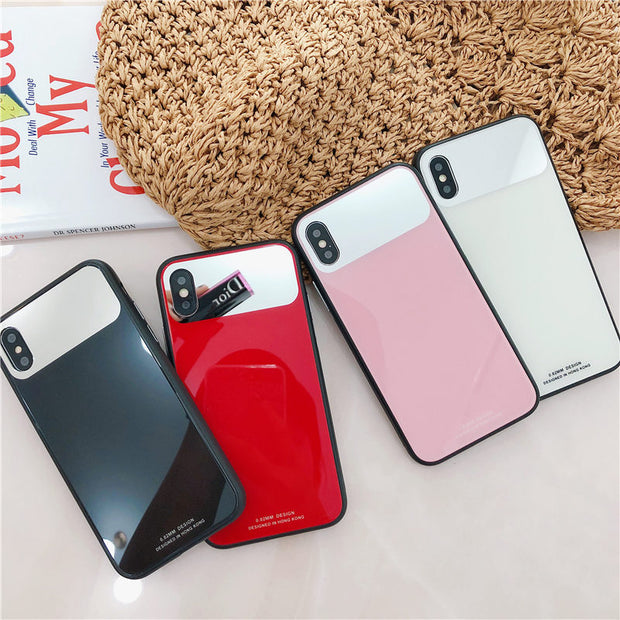 Fashion Tempered Glass Make Up Mirror Anti-Scratch Cell Phone Protective Case For Apple IPhone X 6 6S 7 8 Plus Girls Gift