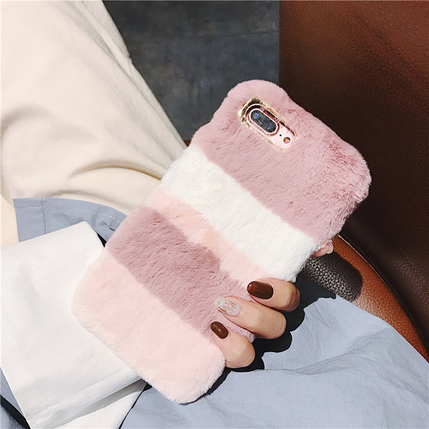 Fashion Winter Warm Cute Fluffy Gradual Colorful Case For IPhone X XS Max XR 8 7 6 6s Plus Plush Fur Soft Silicon Cover Shell