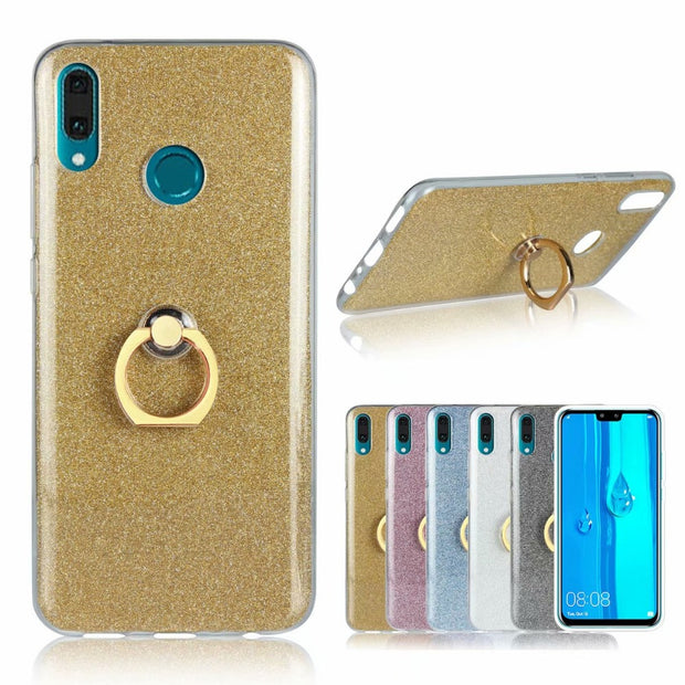 Flash Powder Glitter Phone Case For Huawei Y9 2019 Cover Soft Tpu Silicone  Shockproof Cover With Finger Ring Stent
