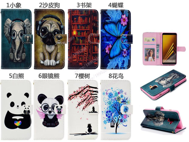 Flip Case For Samsung Galaxy A8 A 8 2018 A530 A530W A530F Phone Leather Case SM-A530F SM-A530F/DS SM-A530W SM-A530N Wallet Cover