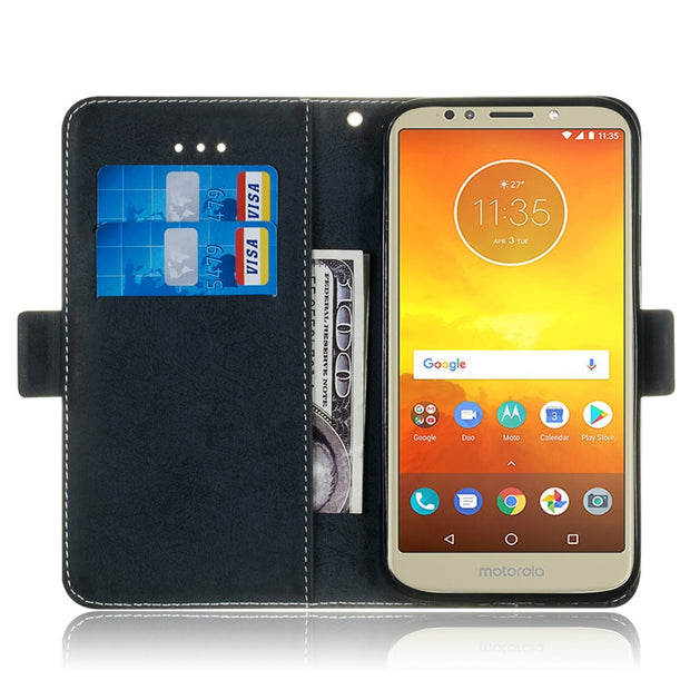 Flip Leather Case SFor Coque Motorola Moto E5 Plus Case For Funda Moto E5 E 5 Retro Solid Color Wallet Cover Stand Phone Case
