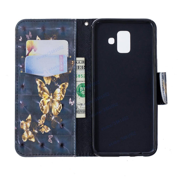 Flip Wallet Case For Samsung Galaxy A6 2018 SM A600 A600FN Cases For Samsung A 6 2018 SM-A600FN SM-A600FN/DS Leather Phone Cover