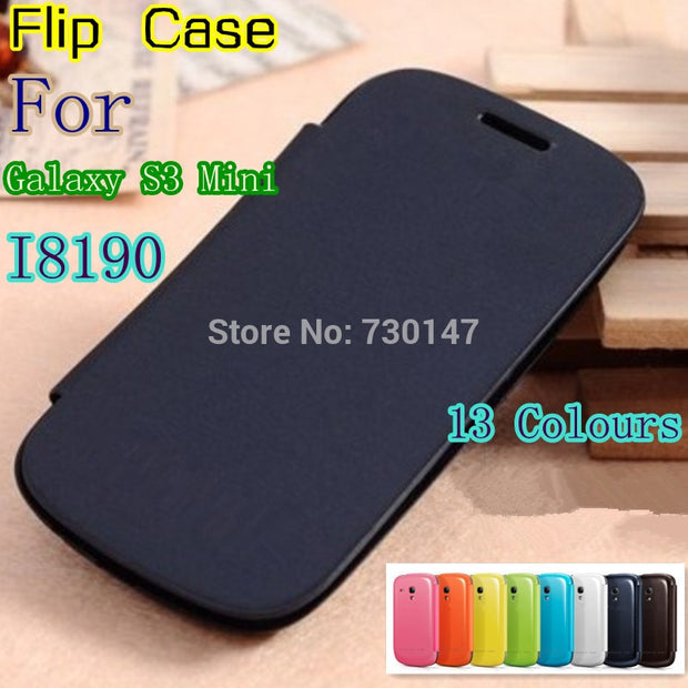 Flip Leather Back Cover Cases Battery Housing Case For Samsung Galaxy S3 SIII Mini I8190