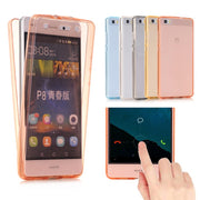 For Huawei Ascend P8 Lite P9 Lite Plus P10 Plus P8 Lite 2017 Case Soft TPU Full Body Protective Crystal Clear Front+back Cover