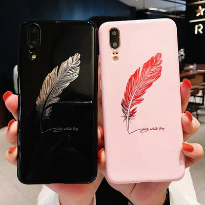 For Huawei Honor 10 P20 Pro Case 3D Feather Relief Soft Silicone Case For Huawei P20 Honor 9 10 Lite V10 Pink Cover Capa P20lite