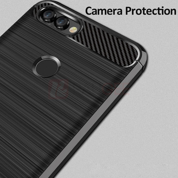 For Huawei P Smart Case Silicone Bumper Frosted Matte Carbon Fiber Back Cover For Huawei P Smart Case Outdoor Case