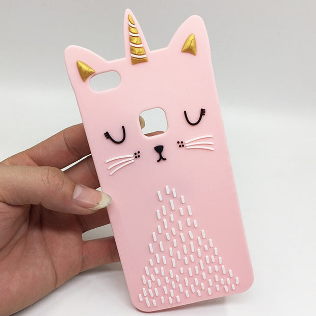 For Huawei P10 Lite Case Cat Silicone Back Cover For Huawei P10Lite Case 3D Cute For Fundas Huawei P8 Lite 2017 5.2 Phone Cases