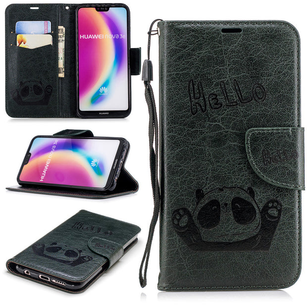 For Huawei P20 Lite/Nova 3E Case PU Leather Flip Wallet Cases Cover Stand Cards Slot Discoloration Embossing HELLO Panda