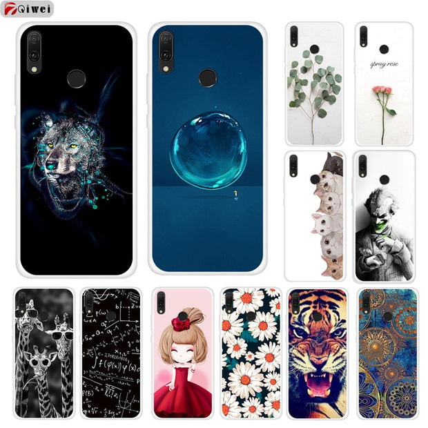 For Huawei Y9 2019 Case Cute Cat Painting Soft TPU Back Cover For Coque Huawei Y9 2019 Case Silicone Capas Y 9 2019 9Y Fundas